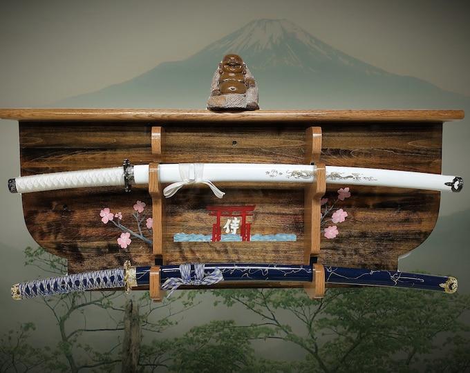 Rustic 2 Tier Katana Sword Display Rack/ Wall Shelf Hand Painted Samurai Shinto Bushido Décor, FREE SHIPPING