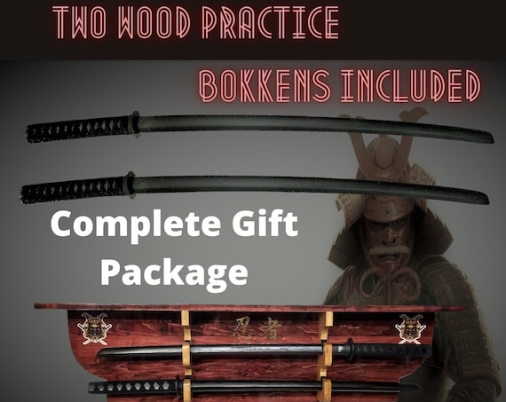 Two Tier Samurai Sword Display Rack Wall Shelf Wood Ninja Katana Practice Bokkens Complete Martial Arts Gift Set , FREE SHIPPING!