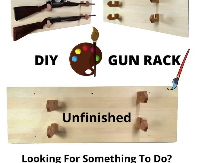 DIY Wood Gun Rack 2 Place Unfinished Aspen Wall Mount Home Office Decor Gift, FREE SHIPPING