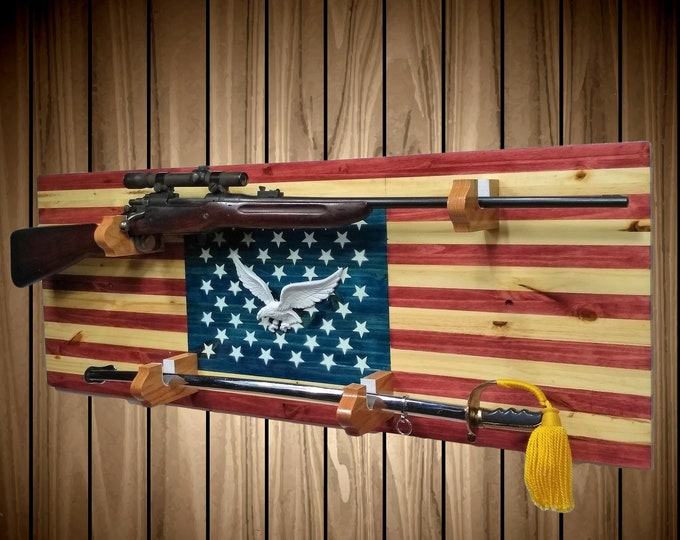 Rustic Americana Gun and Sword Rack Display Vintage Military Hunting USA Decor, FREE SHIPPING
