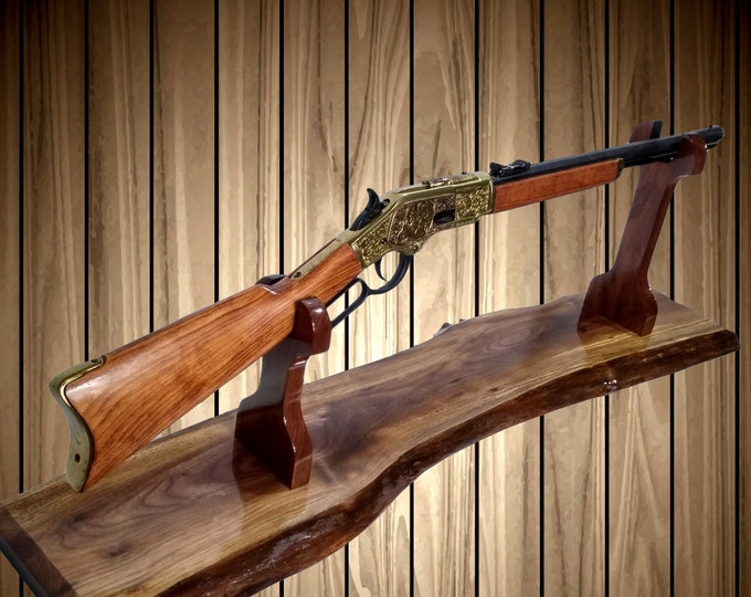Rustic Gun Rack Stand, Live Edge Walnut, Lever Action Western Rifle, Mantel Table Top, Cabin Home Decor, Gift, FREE SHIPPING
