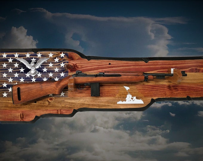 Rustic Flag Gun Rack M1 Carbine Rifle Display Vintage Military Patriotic Eagle Décor Retirement Gift, FREE SHIPPING