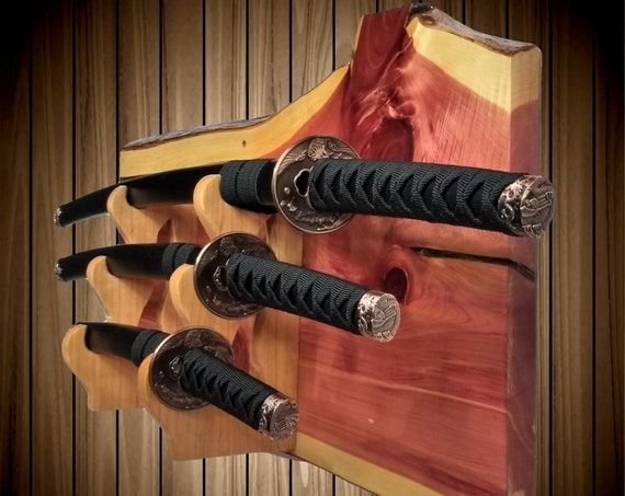 Rustic Cedar 3 Tier Sword Display Rack, Katana Wakizashi Tanto, Samurai Martial Arts Japanese Decor,Handcrafted Gift, FREE SHIPPING