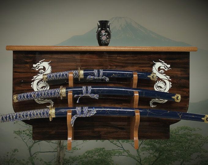 Rustic 3 Tier Dragon Sword Display Rack and Shelf Katana Wakizashi Tanto Samurai Vintage Bushido Décor, FREE SHIPPING