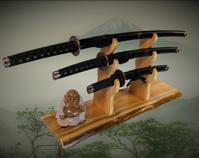 3 Tier Katana Sword Stand Rustic Cedar Mantel Desk Top Japanese Samurai Decor Gift Free Shipping