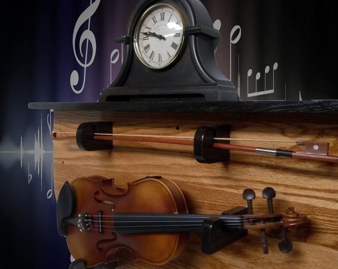 Solid Oak Violin Display Rack with Black Oak Shelf Unique Rustic Musical Wall Mount Décor, FREE SHIPPING