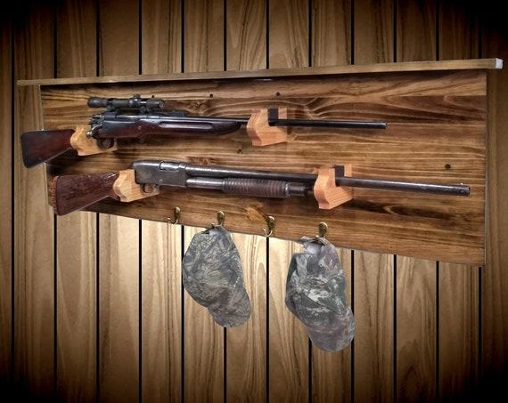 Traditional Wood 2 Place Gun Rack Display with Shelf 4 Pegs Rifle Shotgun Muzzle Loader Man Cave Hunting Decor Gift