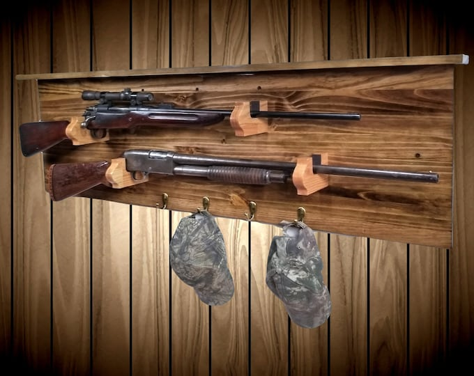 Traditional Wood 2 Place Gun Rack Display with Shelf 4 Pegs Rifle Shotgun Muzzle Loader Man Cave Hunting Decor Gift