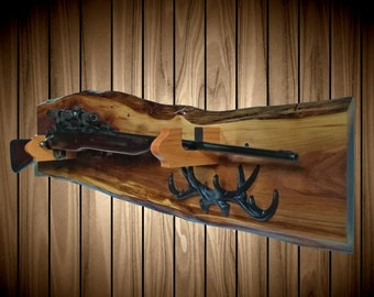 Rustic Wild Walnut Gun Rack, Oak Hangers, Wall Mount, Rifle Shotgun, Home Cabin Hunting Decor, Vintage Gun Display Gift, FREE SHIPPING