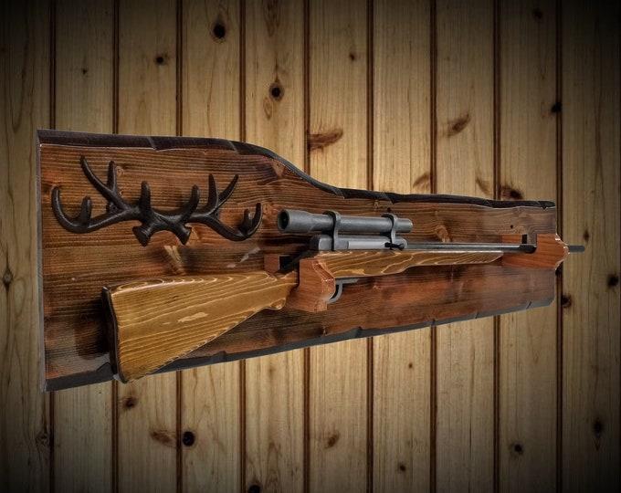 Rustic Hunting Gun Rack Display Oak Hangers Iron Antlers Rifle Shotgun Gift. Free Shipping
