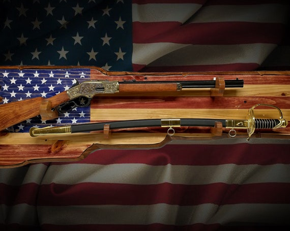 Rustic American Flag Gun and Sword Combination Rack Rifle Display Vintage Military Patriotic Décor Gift, FREE SHIPPING