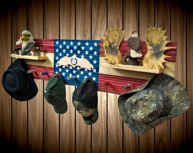 Flag Coat, Hat, Clothes Rack, Wall Hanging Shelf, 9 Shotgun Shell Pegs,Eagle Clock, Americana, Bedroom Decor Gift