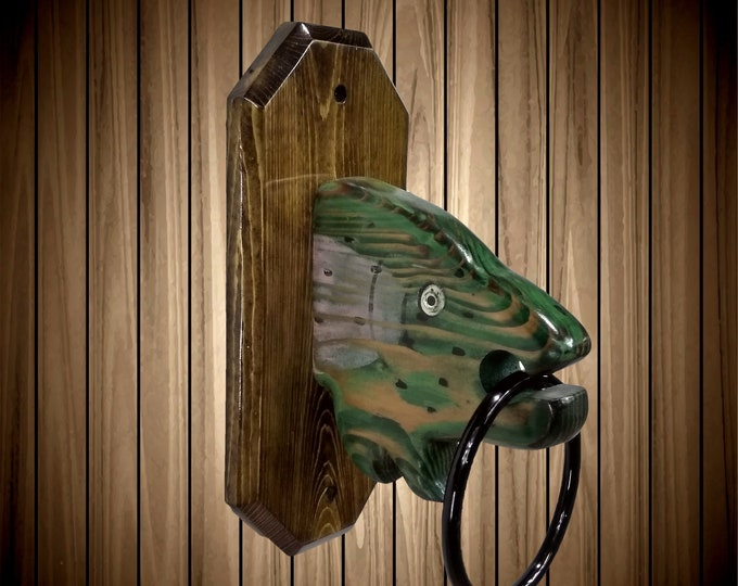Unique Rustic Fish Towel Ring Hand Painted Fishing Bathroom Cabin Decor Gift