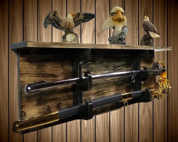 Sword Display Rack w/Shelf, Aspen Wood Wall Mount, Walnut Finish, Military Saber, Katana Samurai Decor, Gift, FREE SHIPPING!