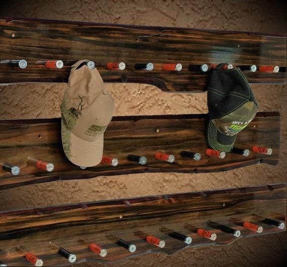 Large Set Rustic Shotgun Shell Hat/Coat Rack Beautiful Live Edge Walnut Faux Finish Lodge Restaurant Bar Décor, Free Shipping