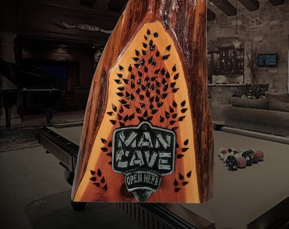 Rustic Man Cave Bottle Opener Live Edge Cedar Game Room Unique Handmade Gift , FREE SHIPPING
