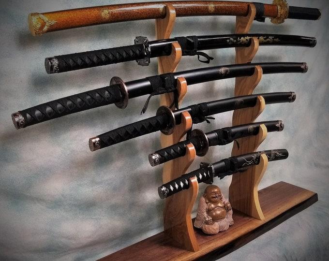 Solid 6 Tier Rustic Live Edge Walnut Katana Sword Stand, Hickory Holders, Mantel Desk Top Japanese Samurai Décor, Gift, Free Shipping