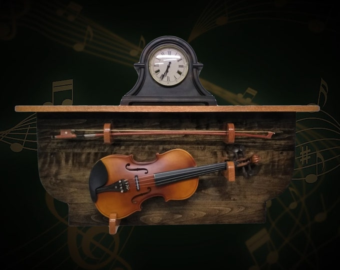 Rustic Violin Display Rack and Shelf Dark Walnut Finish Unique Wall Mount Musical Décor, FREE SHIPPING