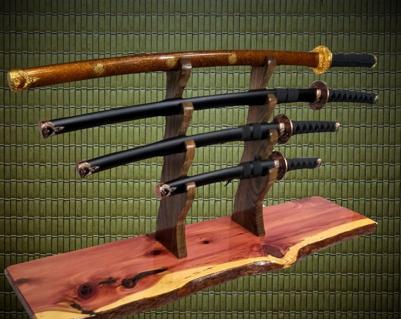 Rustic 4 Tier  Samurai Sword Display Stand, Katana Wakizashi Tanto, Live Edge Knotty Cedar, Japanese Decor, Gift, FREE SHIPPING