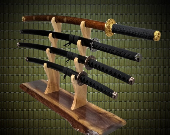 Unique Rustic 4 Tier, Samurai Sword Display Stand Katana Wakizashi Tanto, Live Edge Walnut, Japanese Martial Arts Decor, Gift, FREE SHIPPING