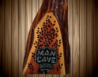 Rustic Wood, Man Cave Decor Bottle Opener, Live Edge Cedar, Great Gift, FREE SHIPPING