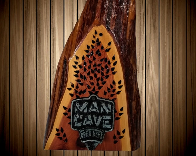 Rustic Wood Man Cave Decor Bottle Opener Live Edge Cedar Great Gift