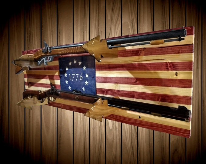 2 Place Gun Rack 13 Star Americana Flag Arrowhead Hangers Rifle Shotgun Handcrafted Gift