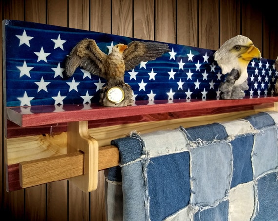 Patriotic Hanging Wood Quilt Rack, Wall Shelf, Knotty Pine Stars and Stripes, Home Cabin Americana Decor, Gift