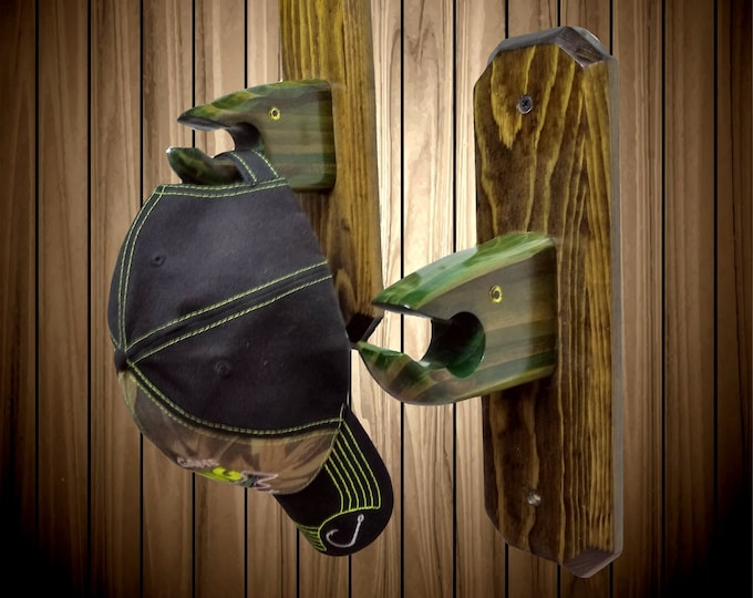 Unique Pair Rustic Fish Hooks / Holders, Hand Painted Fishing, Bathroom, Cabin Decor, Gift, FREE SHIPPING