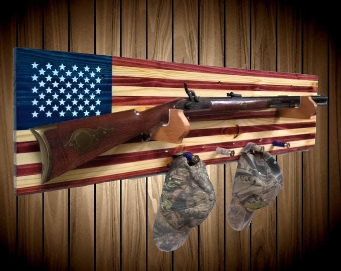 Old Glory Flag Gun Rack Knotty Pine Wall Mount Rifle Shotgun Handmade Americana Cabin Man Cave Hunting Decor Gift