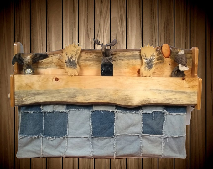 Rustic Hanging Wood Quilt Rack with Shelf Wall Mount Live Edge Knotty Pine Home Cabin Decor Gift, FREE SHIPPING