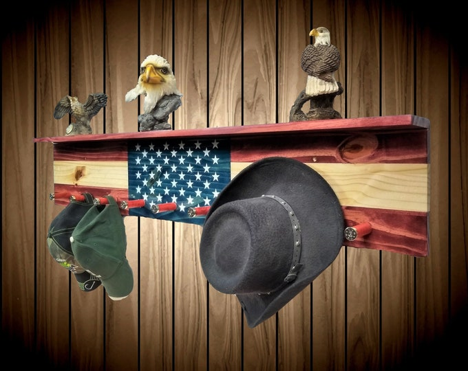 American Flag Coat Rack Shelf Wall Hanging 9 Shotgun Shell Pegs Americana Flag Decor Gift