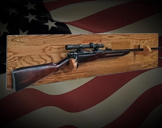 Rustic Planked Oak Gun Rack Wall Mount Rifle Shotgun Display 2nd Amendment Gift, FREE SHIPPING