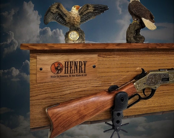 Rustic Henry Gun Rack Shelf Iron Spurs Lever Action Rifle Display Solid Oak Vintage Western Décor, Gift, FREE SHIPPING