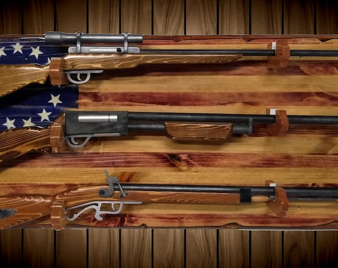 3 Place Rustic 13 Star Flag Gun Rack Knotty Pine Rifle Shotgun Patriotic Décor Gift, FREE SHIPPING