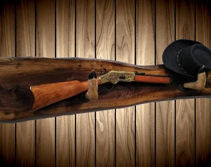 Live Edge Walnut Gun Rack, Deer Hoof Hangers, Wall Mount, Rifle Shotgun, Home Cabin Hunting Decor, Gift, FREE SHIPPING