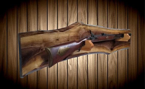 Rustic Walnut Gun Rack, Oak Hangers, Wall Mount, Rifle Shotgun, Home Cabin Hunting Decor, Vintage Gun Display Gift, FREE SHIPPING