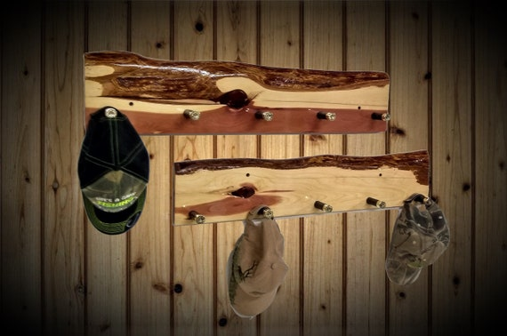 Rustic Set Live Edge Knotty Cedar Wall Mounted Coat Rack 5 Shotgun Shell Pegs, Home Cabin Décor, Handcrafted Gift, FREE SHIPPING
