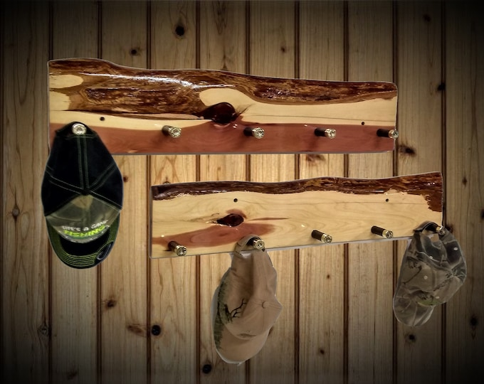 Featured listing image: Rustic Set Live Edge Knotty Cedar Wall Mounted Coat Rack 5 Shotgun Shell Pegs, Home Cabin Décor, Handcrafted Gift, FREE SHIPPING