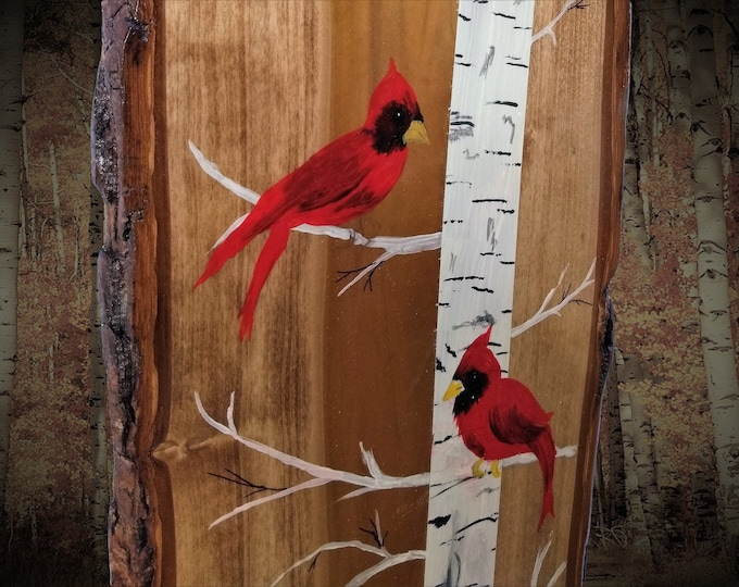 Hand Painted  Red Cardinal Wall Plaque Coat Rack Live Edge Wood Home Country Farmhouse Cabin Decor Great Gift