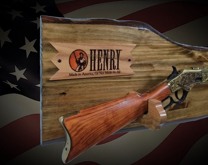 Rustic Gun Rack Henry Lever Action Rifle Display Imitation Live Edge Cabin Décor Gift. Free Shipping