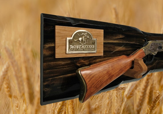 Rustic Winchester Gun Rack Lever Action Rifle Display Wall Mount Western Décor Fathers Day Gift Free Shipping!