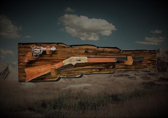 Rustic Gun Rack Lever Action Rifle Pistol Display Unique Western Décor Wall Mount Cabin Décor Gift
