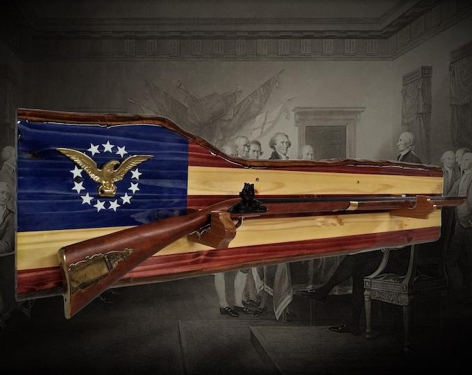 Rustic Musket Gun Rack Long Rifle Wall Mount Display Americana Vintage Patriotic Gift, FREE SHIPPING