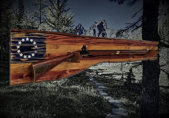 Rustic Long Gun Rack Wall Mount Vintage Musket Rifle Display American 13 Star Patriotic Gift, FREE SHIPPING