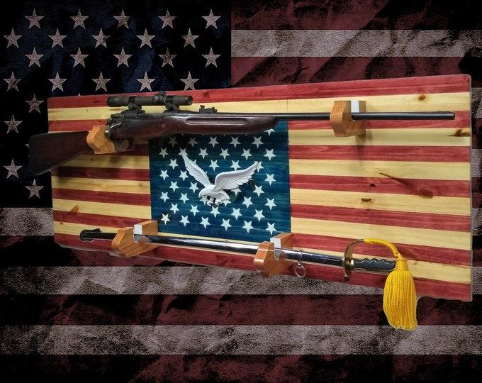 Rustic Americana Gun and Sword Rack Display Vintage Military Hunting USA Decor, Fathers Day Gift, FREE SHIPPING