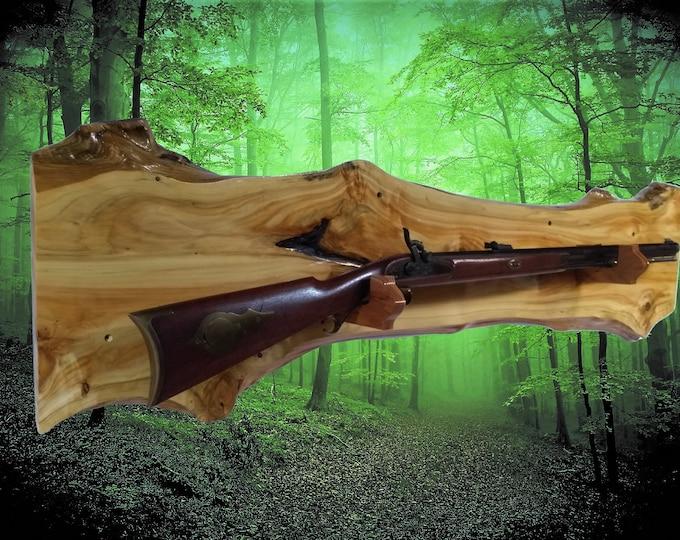 Rustic Gold Gun Rack Nicely Figured Knotty Cedar Wall Display Rifle Shotgun Hunting Decor Gift, FREE SHIPPING