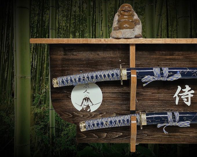 Rustic 2 Tier Samurai Sword Display Rack and Shelf Katana Wakizashi Bushido Warrior Décor, FREE SHIPPING