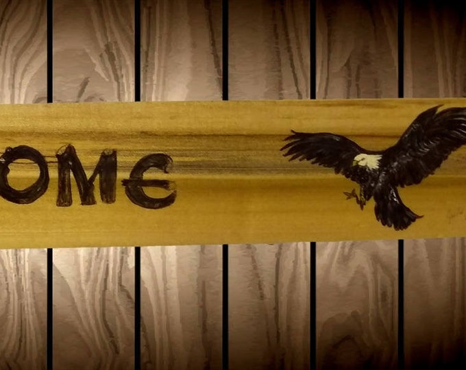 Wood Welcome Sign Hand Painted Eagle Nest Rustic Home Cabin Decor Handcrafted Gift
