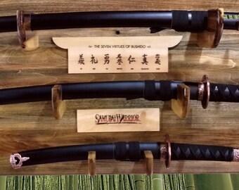 Samurai Sword Display Rack Shelf, 3 Tier Katana Wakizashi Tanto,  Bushido, Handcrafted Japanese Decor, Gift,  FREE SHIPPING